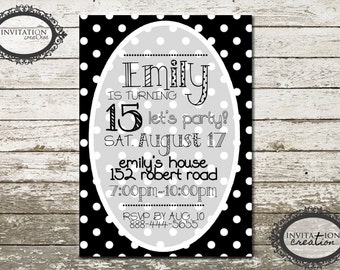 Black and White Polka Dots Girls Ladies Tweens Birthday Party Invitation Digital Download File