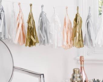 3M Blush Tassel Garland, Gold - Light Pink - White - Light Blue Tassel Garland, Birthday Decor, Baby Shower Decor, Party Decorations