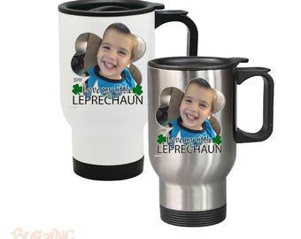 Love My Little Leprechaun Personalized Photo Travel Coffee Mug, Custom St. Patrick's Day Gift