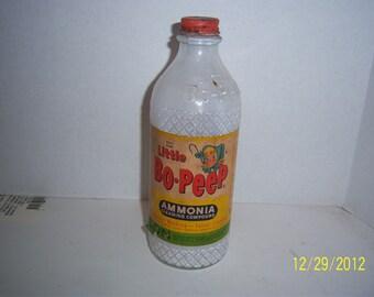 1950's Little Bo Peep Ammonia Puhl Chicago Houston  bottle with paper label
