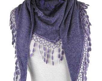 Knitted triangle scarf/shawl/wrap with floral decorative panel and teardrop tassel trim - purple - CFOC0914PU