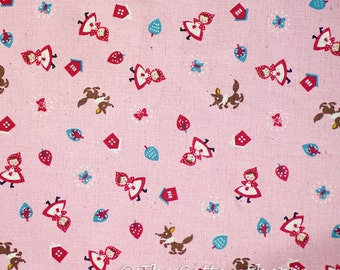 Kokka Fabric ~ Little Red Riding Hood Fabric ~ Japanese Fabric ~ Pink Fabric ~ Home Decor Fabric ~ Cotton Linen Printed Canvas~ Girls Fabric