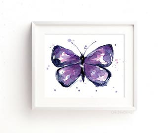 Purple Butterfly Art Print Watercolor Art Print Butterfly Print Wall Art Butterfly Painting Butterfly Abstract Butterflies Giclee Art Print