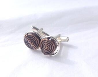 Antiqued Spiral Charm Silver-tone Cufflinks