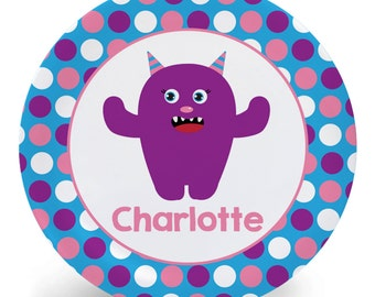 Monster Plate - Personalized Child's Plate - Purple Monster Melamine Bowl or Plate Custom Personalized with Childs Name