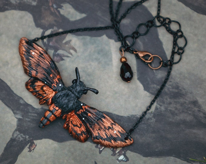 Death's-head hawkmoth Necklace copper 8.5 cm