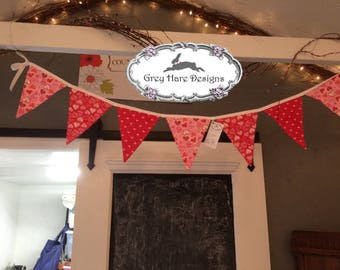 Red, Pink and White Fabric Pennant Bunting