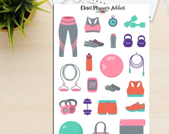 Workout Gear Planner Stickers | Activewear Stickers | Exercise Stickers | Workout Stickers | Gym Stickers | Fitness Stickers (S-050)