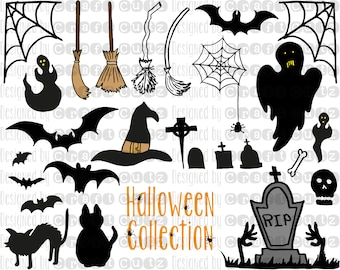 Hand Drawn Halloween Collection - Digital Download - Chalkboard Halloween Elements - DIY Halloween invitations - Cut File - svg