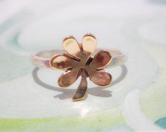 Lucky Clover Ring // Sterling Silver & Brass
