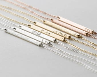 Ultra Dainty Personalized Bar Necklace • Custom Delicate, Tiny Letters •  Minimal Initial Necklace • Gold, Silver or Rose Gold • LN120_30