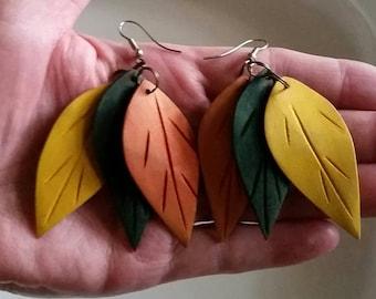 Vintage Autumn Leaves Dangle Earrings Fall Leaf