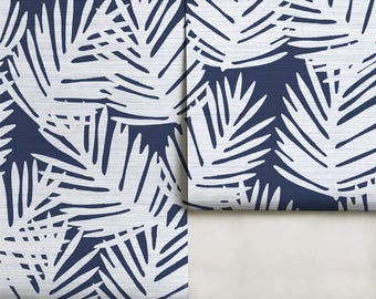 Navy Palm Leaves Easy to Apply Removable Peel 'n Stick Wallpaper
