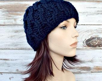 Knit Hat Navy Blue Womens Hat - Amsterdam Beanie in Navy Blue Knit Hat - Navy Blue Hat Navy Blue Beanie Womens Accessories