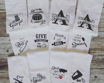 Flour Sack Kitchen Towels, set of 5.  Monogrammed Kitchen Towel.  Funny Kitchen Towels.  Personalized Gift.  Farmhouse Kitchen