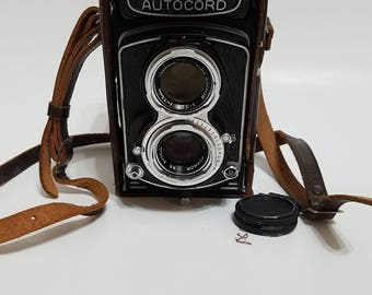Vintage Minolta Autocord Medium Format Film Camera with Leather Case