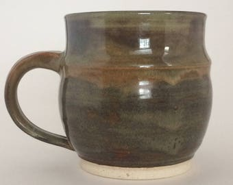 Rustic, Wheel Thrown 18 oz Green Mug