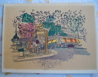 Parisian Street Scenes, from the 50's, set of two, as is