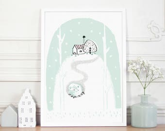 "Poster ""Lomiön, the forest mint fox"" Illustration - Decoration - Interior - Home - Wall frame-Bedroom-Baby-Nursery/Woodland-Animals/Winter"
