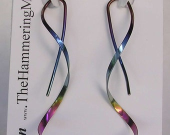 Spiral Earrings - One Piece Design in Pure Niobium, Sterling Silver or 14K Gold
