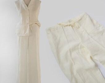 White Linen lounge slacks | Sz. 10
