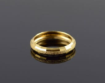 14k Hollow Textured Wedding Band Ring Gold