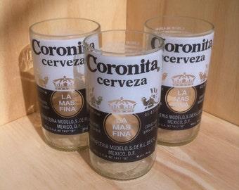 Set of 3 Recycled Beer Bottle Coronita Glasses