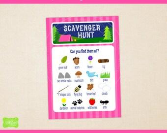 Camping Scavenger Hunt - Printable Scavenger Hunt Card - Camping Party Games -  Camping Printables - Instant Download