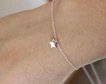 Tiny Sterling Silver Star bracelet, dainty delicate silver bracelet, everyday bracelet, birthday gift, children bracelet, gift for friend