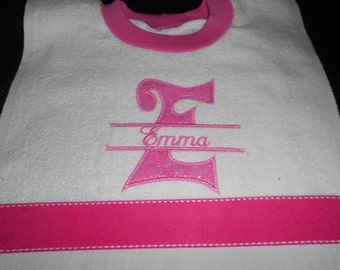 Personalized Split Initial over the head bib
