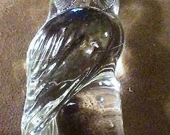 Sale-Clear Glass Vintage Owl Figure