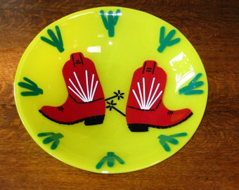 Fused Glass Cowboy boot  bowl.