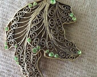 Vintage Monet Leaf Brooch