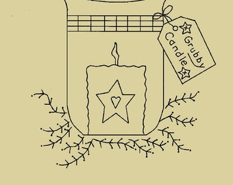 Primitive Stitchery E-Pattern, Glass Holder with Grubby Candle and Grubby Candle Tag!