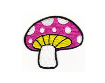 au52 mushroom pink Patch Kids baby comic Mushroom Ironing application patch patches size 7.0 x 6.5 cm