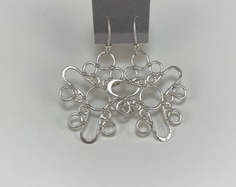 Sterling Silver Large Geometric Earrings Satin Finish