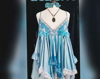 Blue Moon tattered boho beach slip dress