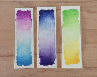 Set of 3 bookmarks original watercolor bookmarks.