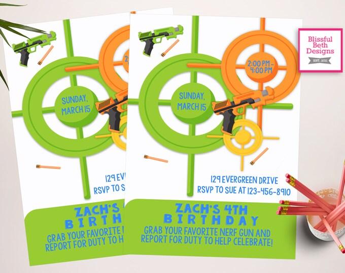 Nerf Inspired Birthday Invitation, Personalized Dart Birthday Printable Invitation, Dart Invitation, Dart Birthday, Dart Birthday Invitation
