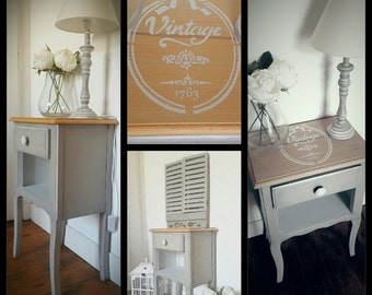 Nightstand restyled and weathered gray and white