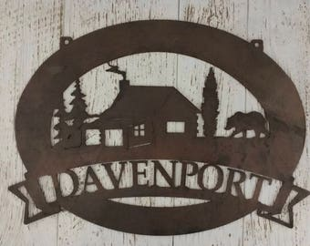 Personalized, metal SIGN with CABIN and BEAR
