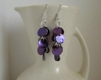 Plum Purple Shell Dangle Earrings