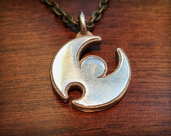 Pokemon Sun and Moon Version Moon Stainless Steel 3D Printed Pendant and Keychain
