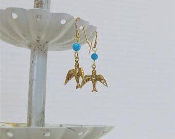 Victorian-Style Bird & Genuine Turquoise Earrings, Gold-Plated Earwires, Civil War Appropriate