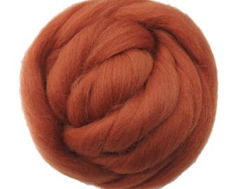 New! 21.5mic Merino Wool Roving , Color: Terracotta