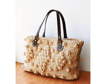 Straw handbag natural crochet raffia bag woven straw purse summer straw bag Gerard Darel inspired straw tote bag beach tote bag raffia tote