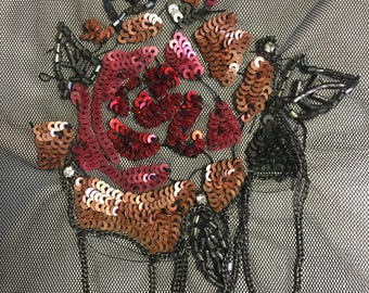 3D Decoration with sequins and bugle beads embroidery handmade