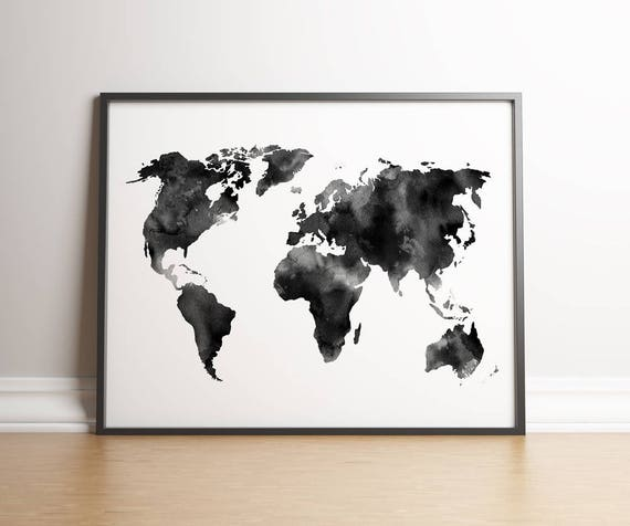 Watercolor world map digital print instant download printable wall watercolor world map digital print instant download printable wall decor black and white poster card trendy travel map gumiabroncs Gallery