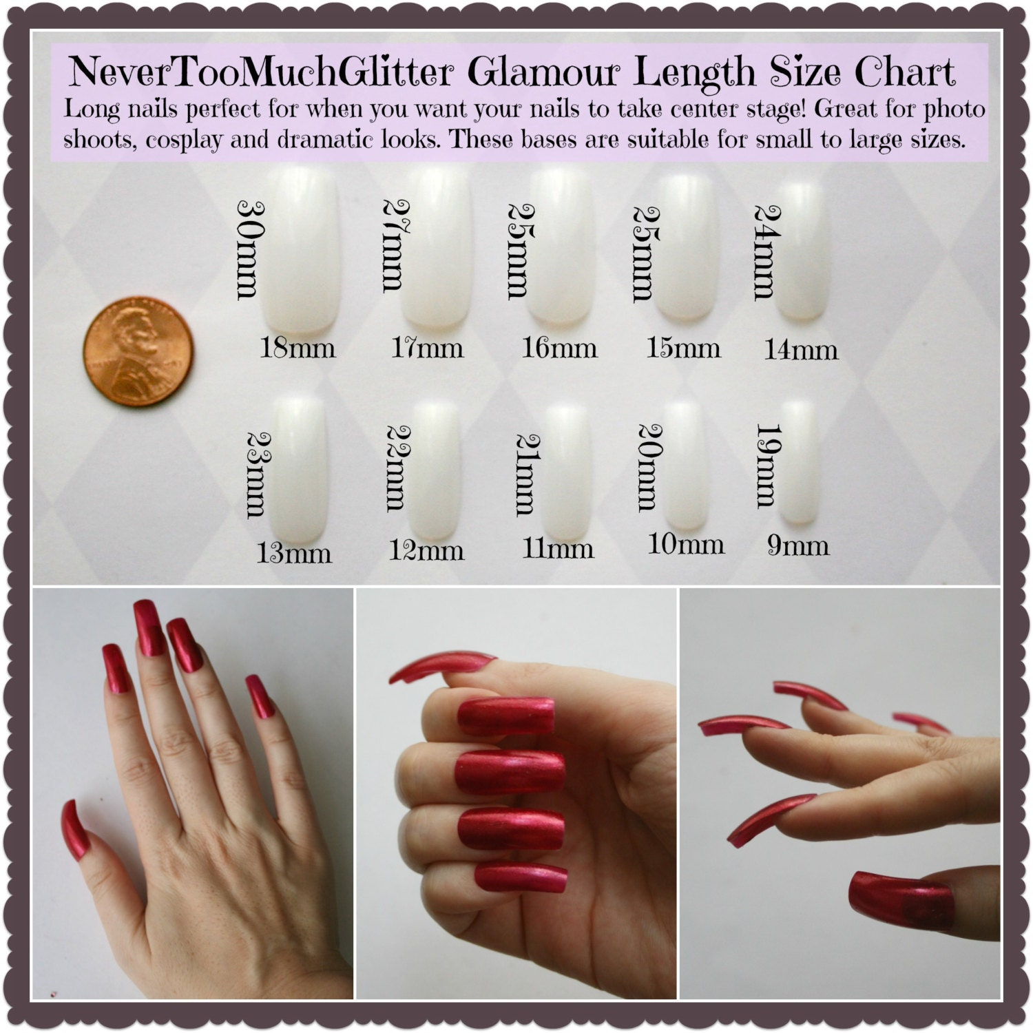 Press On Nail Sizing Set | Coffin, Stiletto, Square, Almond, Oval ...