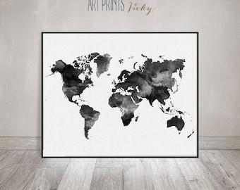World map watercolor print, Travel Map, Large world map, minimalist world map, black & white, watercolor poster, home decor, ArtPrintsVicky